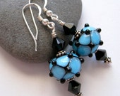 Turquoise with Black Lampwork Glass Bead Earrings