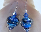 Cobalt Blue Orb in a Circle of Stars: Lampwork Glass Bead Earrings - maineladybug
