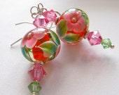 Tropical Flowers Lampwork Glass Bead Earrings