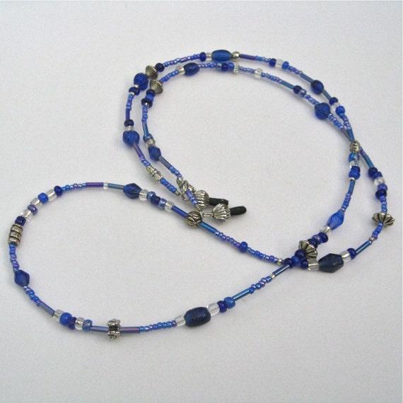 blue glass beaded eyeglass lanyard
