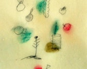 Whimsical Flowers / Mixed Media Drawing on Japanese Paper / Spring Meditation no.2