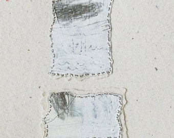 Mixed Media Collage Drawing on Handmade Paper / Fragments no.2