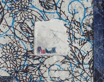 Hand Stitched Collage with Patterned House on Handmade Paper / Fragments no.11