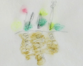 Spring Garden / Spring Meditation Drawing no.1 / Drawing on Japanese Paper