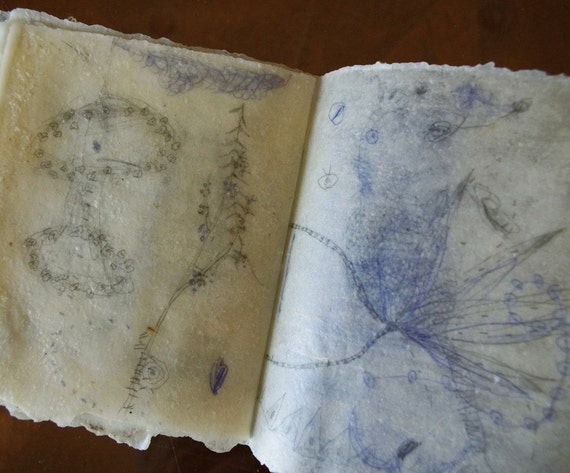 RESERVED Whimsical Artist's Book with Beeswaxed Pages / Transluscent Days