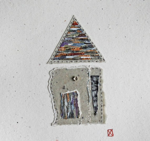 House / Mixed Media Collage  on Handmade Paper / Fragments no.15