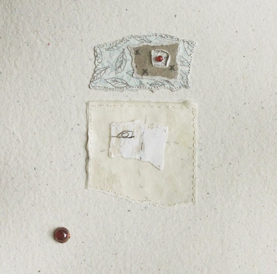 Collage of Hand Stitched Fragments / Fragments no.10 / Mixed Media on Handmade Paper