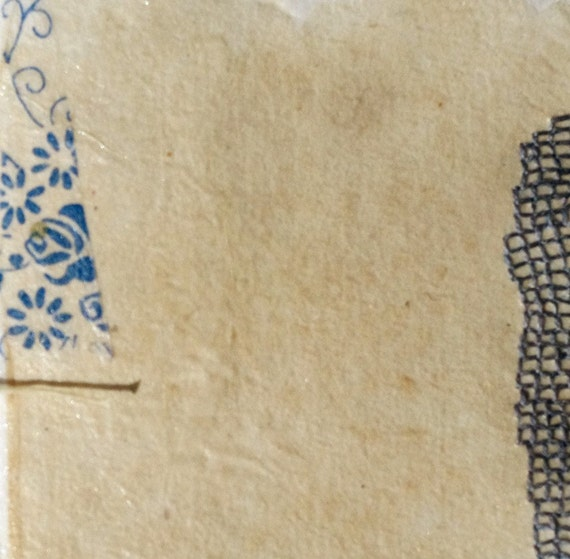 Book Pages Embroidered in Blue / Mixed Media on Japanese Paper