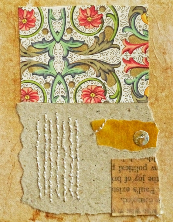 Colorful Abstract Collage with Hand Stitching on Teabag / Fragments no.17