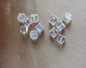 SALE!!  Bead, Celestial Crystal, 18 facet, clear AB, 4x4mm, faceted cube, Pkg Of 12  SALE!!