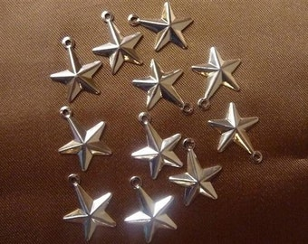SALE!! Charm, silver-plated, brass, 13x13mm, Star, ( Pkg Of 12 )  SALE!!