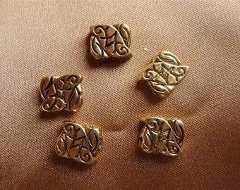 SALE!!!! Bead, Antiqued Gold Plated, Pewter, 10x9mm ,Rectangle Leaf,   Pkg Of 4 SALE!!!!