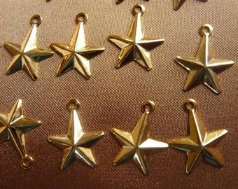 SALE!! Charm, Gold-Plated Brass, 16x13mm, Star, Pkg Of 14  SALE!!