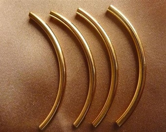 Bead Gold-Plated Plated ,Brass, 50x3mm curved tube Pkg Of 10