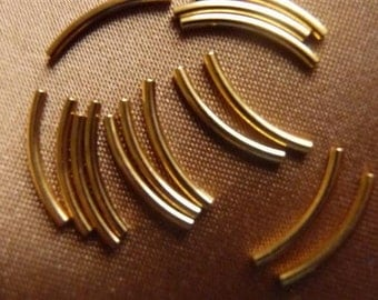 Bead, Gold-Plated, Brass, 13x1mm, Curved Tube, Pkg Of 18