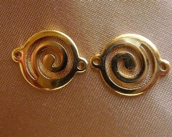 Link, Gold Plated, 17x13mm, Round Swirl, Pack Of 8 links.