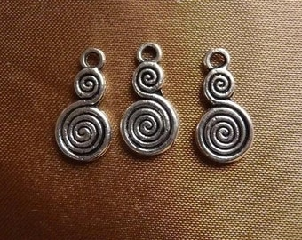 Drop, ZincRich, Pewter, Antiqued Silver Pltd, 14x8mm, double sided,  double  spiral, Pkg Of 6