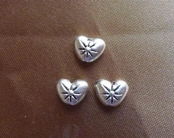 SALE!! Bead, ZincRich Pewter, Antiqued, Silver Plated, 8x6mm, Double Sided, Heart, with Flower, Pkg Of 14 SALE!!!