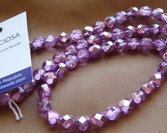 Bead, Preciosa Czech, fire polished glass, metallic pink silver, 6mm, faceted round, Pkg of 16