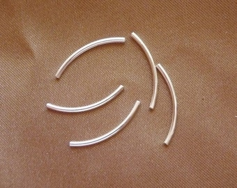 Bead, silver plated brass, 20x1mm, curved tube,Pkg Of 20