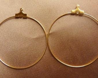 Beading Hoop, Gold plated brass, 40mm, with loop, Pkg Of 12 hoops, Pack of 12 beading hoops.