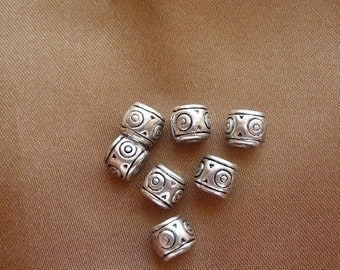 Bead, ZincRich Pewter, Antiqued, silver finished, 6x6mm, drum, with 3mm hole, Pkg of 10