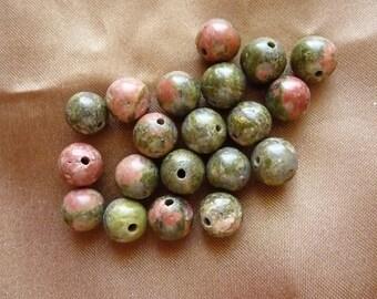 Bead, Unakite, gemstone, designer quality, natural, 8mm, round, Pkg Of 16