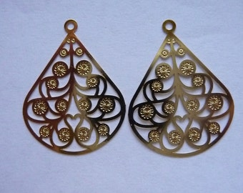 Drop, Lazer Lace, Gold plated Brass, 24x20mm, fancy pear, Pkg Of 4, 2 Pairs of earring