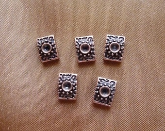 SALE!! Spacer, ZincRich Pewter, Antiqued, copper plated, 9x7mm, 2 strand rectangle, with 2mm round setting, Pkg Of 12