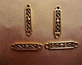SALE!! Link, antiqued gold pewter (tin-based alloy), 22x5mm rectangle, Pkg Of 4 SALE!!