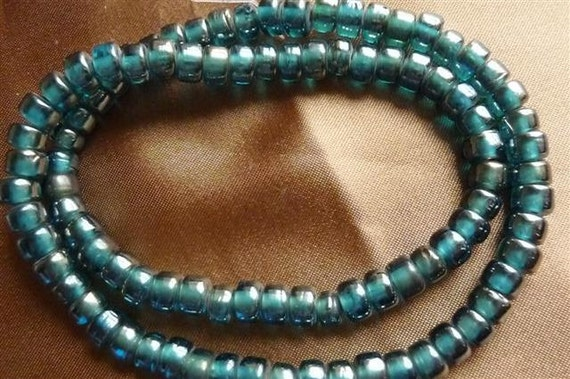 Bead, Glass, Medium Teal, 6x5mm, Crow, Pkg Of 36