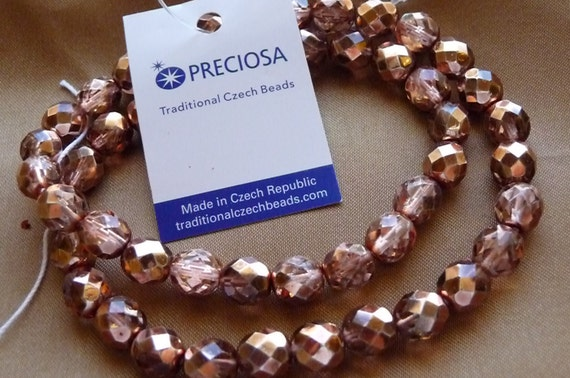 Bead, Preciosa Czech, fire-polished glass, metallic apricot, 8mm, faceted round, Pkg Of 14