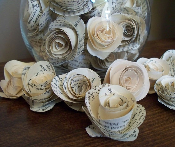 70 Paper Flowers made from Vintage Book Pages