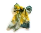 Silk Scarf, Dark Green  and Yellow Stylized Flowers Long Silk Hand Painted Scarf, Watercolor Effects, Luxury Silk Scarf, Emerald Green