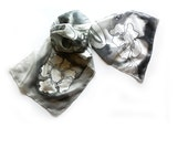 Hand Painted Long Silk Scarf Black and White Stylized Flowers