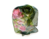 Hand Painted Silk Chiffon Long Scarf with Magnolia Grass Green and Emerald Background