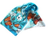 Hand Painted Long Silk Scarf Butterflies in a Sky Blue Bacground