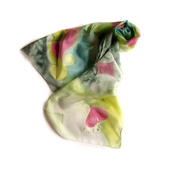 Hand Painted Long Silk Scarf Red Hearts in Green Bacground