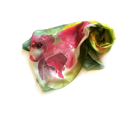 Hand Painted Long Silk Scarf with Lollipops in Grass Green , Emeralld and Red Background
