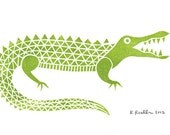 Alligator - Mini Block Print
