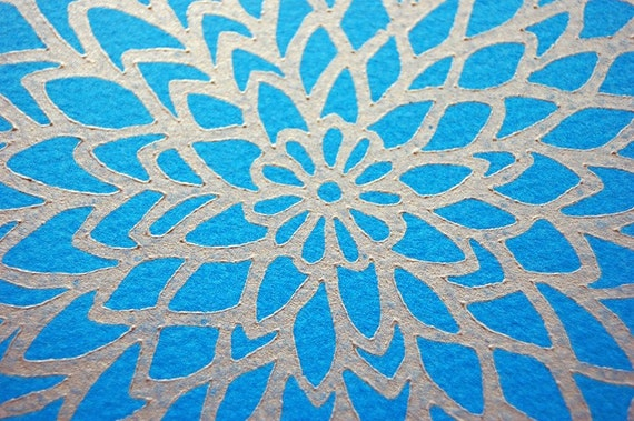Zinnia Lino Print - Turquoise