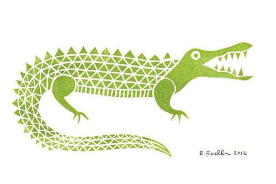 Alligator - Mini Block Print