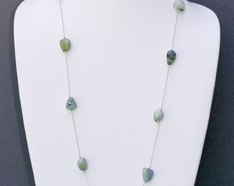 Faceted Blue Peruvian Opal and Sterling Silver Necklace- NK 116