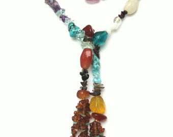Long Multi Gemstone Tasseled Lariat Necklace- NK 142