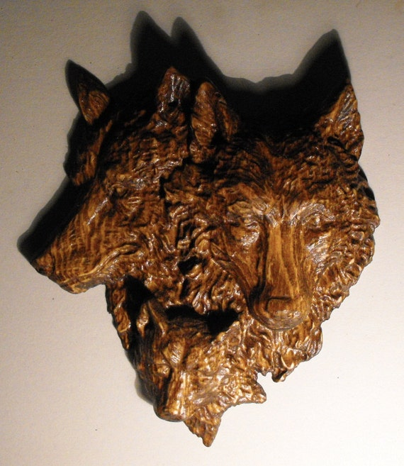 Wolf Family Carved in Wood