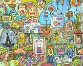Poster - Wacky Worlds busy city