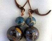 Boulder opal and natural turquoise earrings