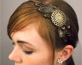Brown Feather Headband with Gold Pendant