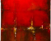 Original Abstract Acrylic Painting Gallery Wrapped Canvas 18x24 Red Blended Brush and Palette Knife