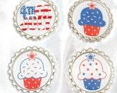 Fourth of July  & Patriotic CupcakesFlattened Bottlecap Set - Set 1
